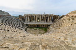 Ancient Amphitheater at city of Hierapolis, Pamukkale, Turkey Stock Images