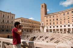 Ancient amphitheater in the city Lecce, Italy royalty free stock photos