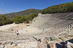 Ancient amphitheater of Epidaurus at Greece Royalty Free Stock Image