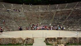 Ancient amphitheater of Epidaurus at Peloponnese, Greece stock photos