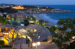 Ancient  amphitheater at Mediterranean in evening. Tarragona Stock Image