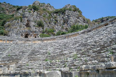 Ancient amphitheater in Myra, Royalty Free Stock Images