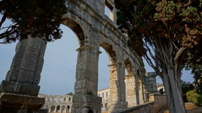 Ancient amphitheater portion of the building in Pula city in Croatia Stock Images