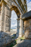 Ancient amphitheater in Pula Croatia. Adriatis coast Europe Royalty Free Stock Photography