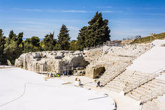 Ancient amphitheater ruins in Syracuse, Sicily, Italy Royalty Free Stock Photography