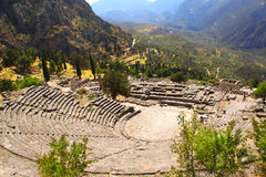 Ancient amphitheater and ruins of Temple of Apollo in Delphi, Gr Stock Photography
