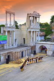 Ancient amphitheater scene performers Royalty Free Stock Photos