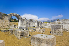 Ancient amphitheater at Split Croatia. Ruins of the ancient amphitheater at Split, Croatia - archaeology background Stock Images
