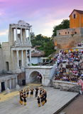 Ancient amphitheater stage dancers Royalty Free Stock Photography