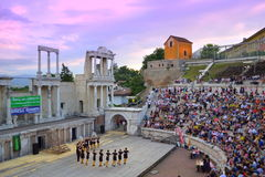 Ancient amphitheater stage performance Royalty Free Stock Images