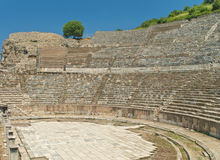 Ancient amphitheater with a tree. Great amphitheater in ancient city of Ephesus with tree at top on sunny day, Turkey Stock Photo