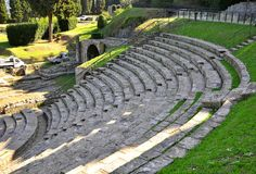 Ancient amphitheatre in Italy stock photography