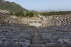 Roman amphitheatre in the ruins of Ephesus, Turkey. Royalty Free Stock Photo