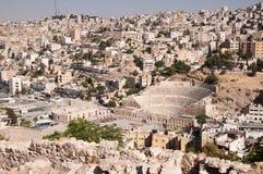Ancient Amphitheatre. Traditional Roman amphitheatre located in the city of Amman, Jordan Stock Photo