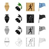 Ancient amphora, a branch of olives, a picture of a Greek athlete, a national flag. Greece set collection icons in Royalty Free Stock Images