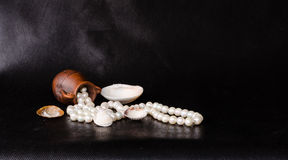 Ancient amphora, tropical sea shell and pearls over black Royalty Free Stock Photo