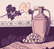Ancient amphora and wine. Illustration for all design Royalty Free Stock Photography