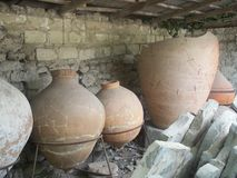 Ancient amphorae. Ancient jars, items of excavation royalty free stock photos