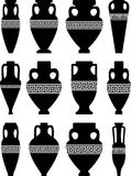 Ancient Amphorae and Vases. Set of black silhouettes of ancient amphorae and vases with traditional Greek abstract meander pattern - vector Stock Photography