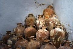 Ancient Amphoras in Bodrum Castle Stock Photo