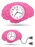 Ancient analog brain clock with connector plug Royalty Free Stock Photography