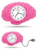 Ancient analog brain clock with usb cable Royalty Free Stock Image