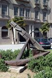Ancient anchor in the street of Barcelona. Royalty Free Stock Image