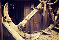 Ancient anchors on vintage ship Stock Images