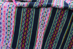 Ancient andean colored fabrics woven by hand stock image