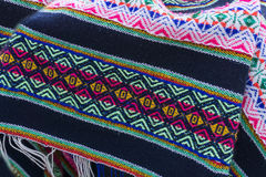 Ancient andean colored fabrics woven by hand Royalty Free Stock Photos