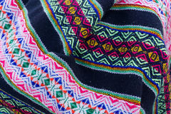 Ancient andean colored fabrics woven by hand Stock Photography