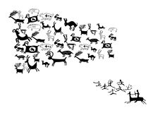 ANCIENT ANIMAL DRAWINGS stock illustration