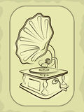Ancient antiquarian gramophone Royalty Free Stock Photography