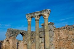 Ancient antique city of Efes, Ephesus ruins. Ancient antique city of Efes Celsus library ruin in Turkey. Ancient Greek city Ephesus ruins on the southern royalty free stock photography