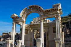 Historical buildings ancient antique city of Efes, Ephesus ruins. Ancient antique city of Efes Celsus library ruin in Turkey. Ancient Greek city Ephesus ruins on royalty free stock photo