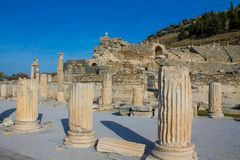 Ancient antique city of Efes, Ephesus ruin in Turkey. Ancient antique city of Efes Celsus library ruin in Turkey. Ancient Greek city Ephesus ruins on the Stock Images