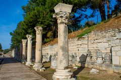 Ancient antique city of Efes, Ephesus ruins. Ancient antique city of Efes Celsus library ruin in Turkey. Ancient Greek city Ephesus ruins on the southern royalty free stock photos