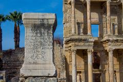 Ancient antique city of Efes, Ephesus ruins royalty free stock images