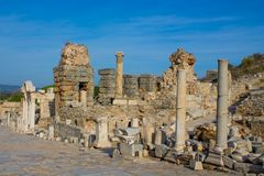 Ancient antique city of Efes, Ephesus antique ruin in Turkey. Ancient antique city of Efes Celsus library ruin in Turkey. Ancient Greek city Ephesus ruins on the stock image