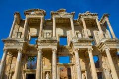 Ancient antique city of Efes, Ephesus Celsus library ruin in Turkey. Ancient antique city of Efes Celsus library ruin in Turkey. Ancient Greek city Ephesus ruins Royalty Free Stock Photo