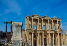 Ancient antique city of Efes, Ephesus library ruin in Turkey. Ancient antique city of Efes Celsus library ruin in Turkey. Ancient Greek city Ephesus ruins on the Stock Images