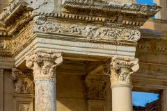 Ancient antique city of Efes, Ephesus library ruin in Turkey. Ancient antique city of Efes Celsus library ruin in Turkey. Ancient Greek city Ephesus ruins on the Royalty Free Stock Photos