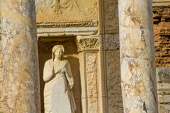 Ancient antique city of Efes, Ephesus library ruin in Turkey. Ancient antique city of Efes Celsus library ruin in Turkey. Ancient Greek city Ephesus ruins on the Stock Photo