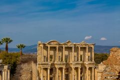 Ancient antique city of Efes, Ephesus library ruin in Turkey. Ancient antique city of Efes Celsus library ruin in Turkey. Ancient Greek city Ephesus ruins on the Stock Photos