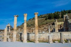 Ancient antique city of Efes, Ephesus ruin in Turkey. Ancient antique city of Efes Celsus library ruin in Turkey. Ancient Greek city Ephesus ruins on the Royalty Free Stock Image