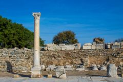 Ancient antique city of Efes, Ephesus ruins. Ancient antique city of Efes Celsus library ruin in Turkey. Ancient Greek city Ephesus ruins on the southern royalty free stock images