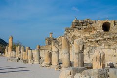 Ancient antique city of Efes, Ephesus ruins stock photography