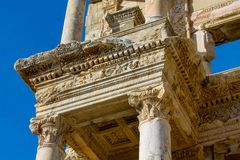 Ancient antique city of Efes, Ephesus ruins. Ancient antique city of Efes Celsus library ruin in Turkey. Ancient Greek city Ephesus ruins on the southern stock image