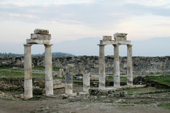 Ancient antique city ruins of Hierapolis Stock Photo
