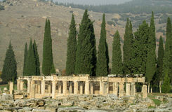Ancient antique column ruins of Hierapolis Royalty Free Stock Images
